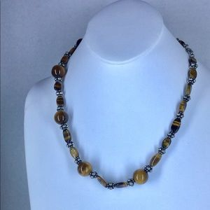 Tigers Eye Necklace in Stainless Steel 20 inch